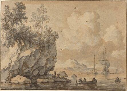 Allart van Everdingen, 'Figures in Rowing Boats in a Rocky Cove, Sailing Ships Beyond'
