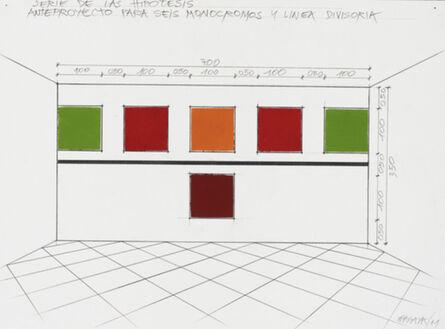 Horacio Zabala, 'Anteproyecto para seis monocromos y linea divisora', 2011