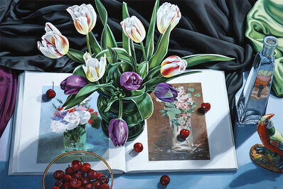 Sherrie Wolf, 'Tulips with Book on Manet', 2017