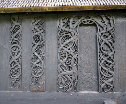 'Portal, set into wall of later stave church', 11th century