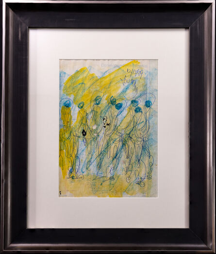 Purvis Young, 'Purvis Young Signed Original Crayon and Ink Dual-Sided Yellow and Blue Figurative Drawing Contemporary Art', 1970-2000