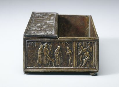 after Bartolomeo Spani, 'Two Scenes from the Life of Saint Simeon of Polirone: The Miracle of the Stag (vignette) and The King of León (vignette)', model probably c. 1516; cast perhaps later (possibly 19th century)