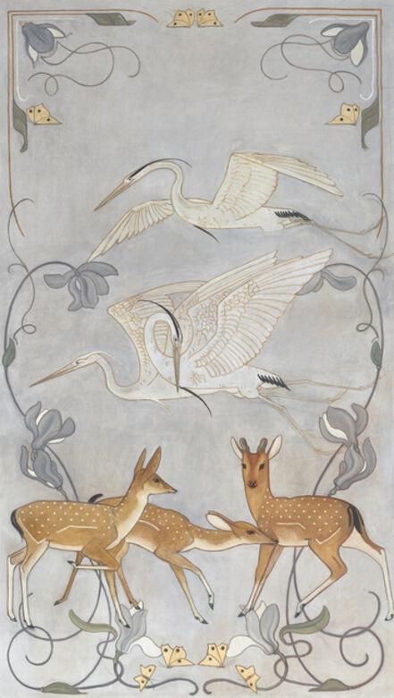 Willem Adriaan van Konijnenburg, 'Japanese cranes and deer', 1899