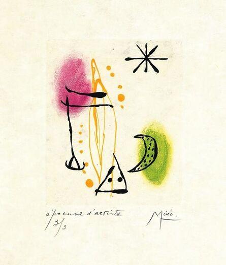 Joan Miró, 'Suite La Bague D'Aurore - plate 2', 1957