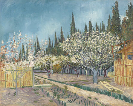 Vincent van Gogh, 'Orchard in Blossom, Bordered by Cypresses', 1888
