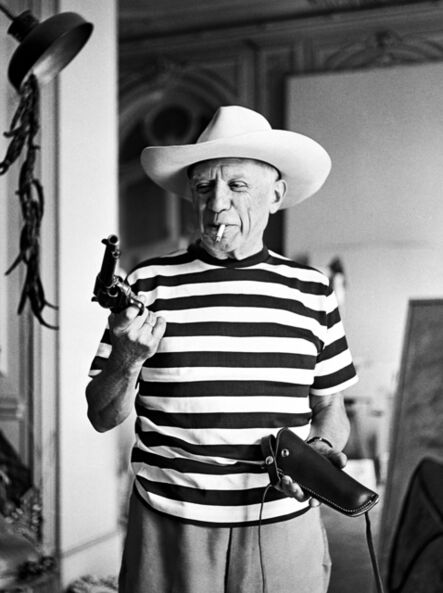 André Villers, 'Picasso with the revolver and hat gifted by Gary Cooper', 1958