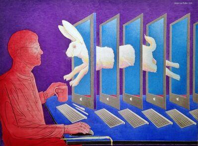 Anton van Dalen, 'Self-Portrait with Rabbit Jumping through the Computer', 2014