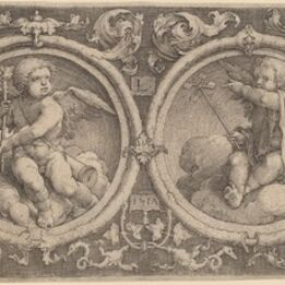 Lucas van Leyden, 'Two Cupids Seated on Clouds in Two Circles', 1517