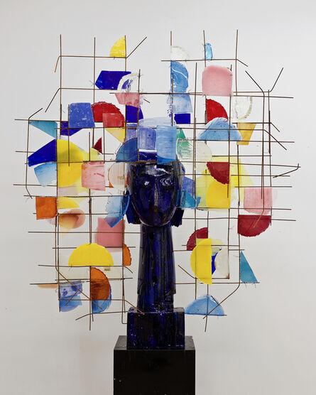 Manolo Valdés, 'Cabeza azul Madera y Resin', 2018