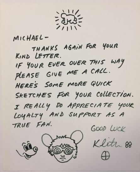 """Keith Haring, '""""Andy Mouse"""" drawing on letter.', 1988"""