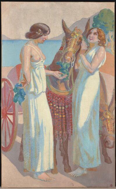 Maurice Denis, 'Jeux de Nausicca : deux femmes près d'une mûle harnachée', 1914