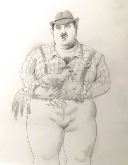 Fernando Botero, 'Man with rooster', 2006