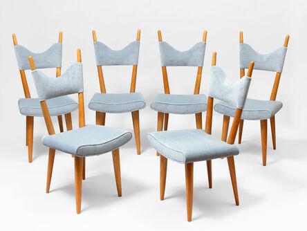 "Jean Royère, 'set of 6 ""baltique"" chairs', ca. 1950"