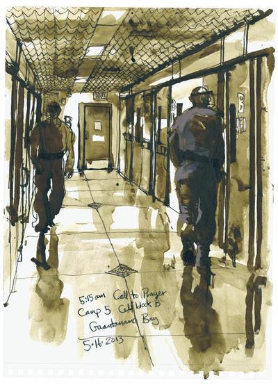 Steve Mumford, '5/16/13, 5:15am Call To Prayer, Camp 5, Cell Block B, Guantanamo Bay, Cuba', 2013