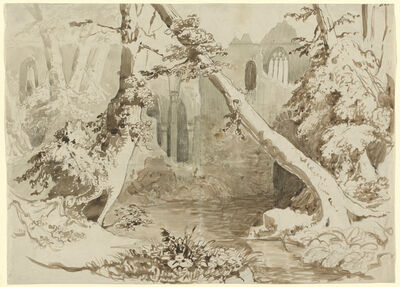 Carl Blechen, 'A Ruined Church in the Forest', ca. 1834