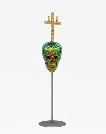 Jan Fabre, 'Skull with Bacongo Cross (Red)', 2018
