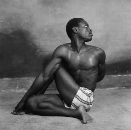 """James Barnor, 'J Peter Dodoo Jnr., Yoga student of """"Mr Strong"""", Ever Young studio, Accra, 1955', 2019"""