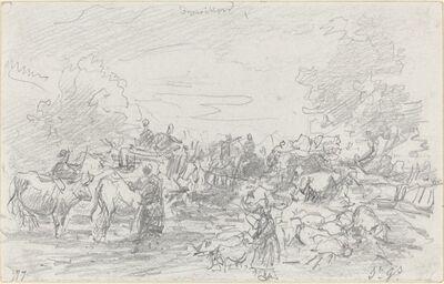 Eugène Boudin, 'Herds Crossing a Stream', 1877