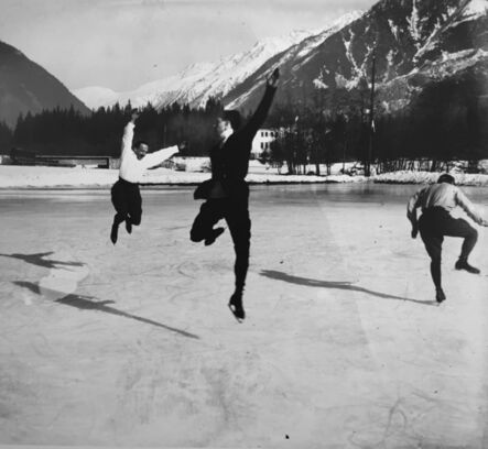 Jacques-Henri Lartigue, 'Albert Heide, Francis Pigneron and Ostertag Chamonix, January', 1918