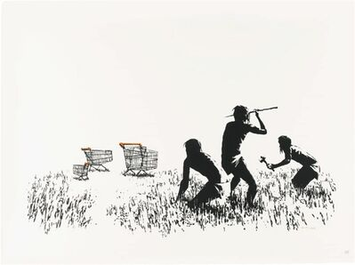 Banksy, 'Trolley Hunters (Black and White) Signed', 2006