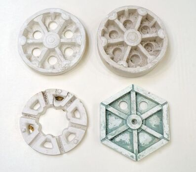 Eduardo Paolozzi, 'A collection of four maquettes to include three circular and one hexagonal plaster wheels'
