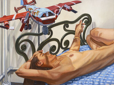 Philip Pearlstein, 'Model on Cast Iron Bed with Weathervane Airplane, #2', 2005