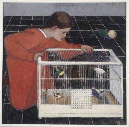 Broncia Koller, 'Silvia Koller with a Bird Cage', 1907-08