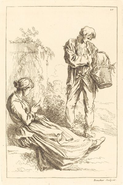 François Boucher after Abraham Bloemaert, 'Seated Woman with Peasant Boy Holding a Basket', published 1735