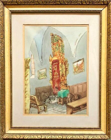 Zvi Ehrman, 'Israeli Modernist Safed Synagogue Interior Folk Art Watercolor Painting', Mid-20th Century