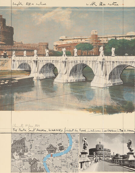 Christo and Jeanne-Claude, 'The Ponte Sant' Angelo, Wrapped (Project for Rome)', 1989