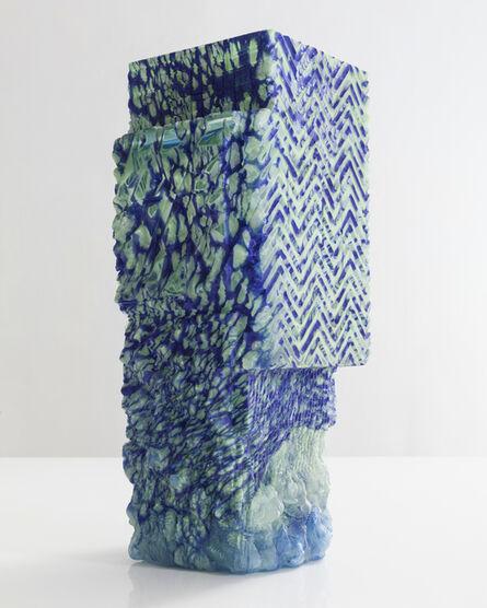 Thaddeus Wolfe, 'Unique blown glass vessel in blue and light aqua', 2015