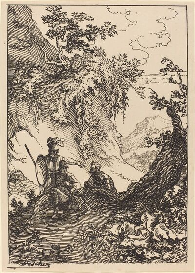 Joseph Fischer, 'Landscape with Men in Armor, Tree Stump', 1803