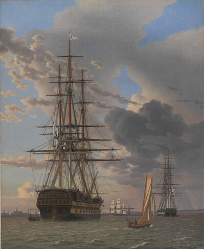 Christoffer Wilhelm Eckersberg, 'The Russian Ship of the Line Asow and a Frigate at Anchor near Elsinore', 1828