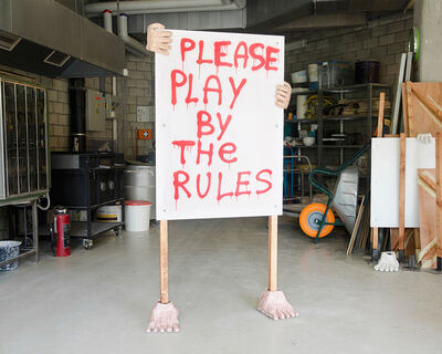 William Ludwig Lutgens, 'Humanoid Banner - Please Play By The Rules', 2018