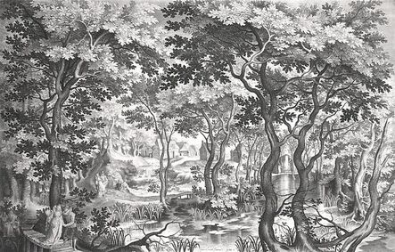 Nicolaes de Bruyn, 'Landscape with Pair on Wooden Bridge', 1602