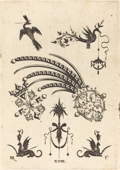 Daniel Mignot, 'Two Brooches with Bird and Winged Snake at Top and Griffins with Vases at Bottom', 1596