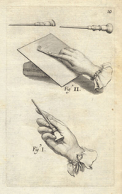 Abraham Bosse, '[Examples how to hold the burin]', 1645