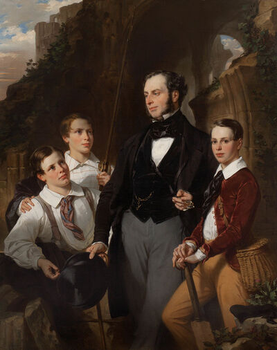 Eugène -François-Marie-Joseph Devéria, 'Portrait of Laurence Davidson and His Three Sons', 1850