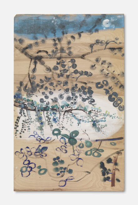 Bill Lynch, 'Untitled (Branches with Purple/Blue leaves in Lower Left. Moon in Upper Right)'