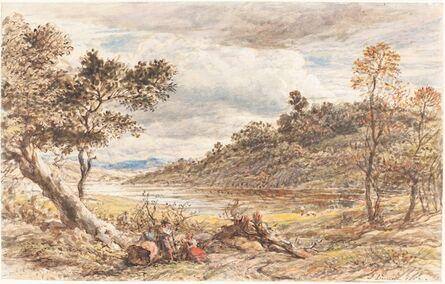 John Linnell, 'Travelers Resting by a Fallen Tree', 1852