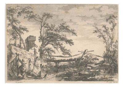Jean Claude Richard de Saint-Non (author), 'Landscape with Bridge', 18th Century