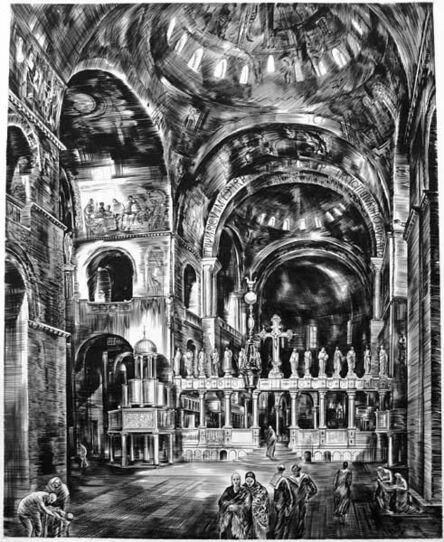 Albert Decaris, 'St. Mark's, Venice (Intérieur de Saint-Marc I)'