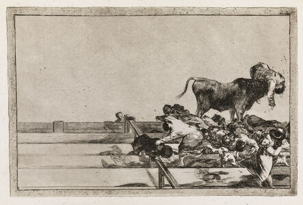 Francisco de Goya, 'Dreadful events in the front rows of the ring at Madrid and the death of the mayor of Torrejon (La Tauromaquia, 21)', 1815-1816