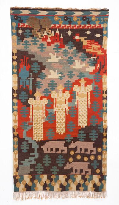 "Gerhard Munthe, '""Den Røde Hane"" (The Red Cock) Three Maidens Tapestry', 1910"