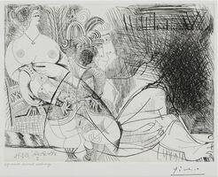 Pablo Picasso, 'Maison close, trois filles au repos, dont une en chaussettes Pl. 90 from 'Série 156,' 1971 – Inscribed in the plate 'vendredi 19.3.71. I'', 1971