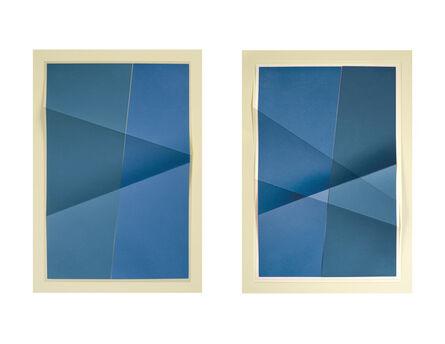 John Houck, 'Untitled #341_01, 3 colors, #3073B2, #4D728B, #EDE6C1; Untitled #341_02, 3 colors, #4D728B, #3073B2, #E0D9B7', 2015
