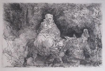 Rembrandt van Rijn, 'The Flight into Egypt, Crossing Over a Creek', 1654