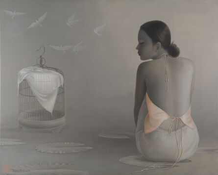 Tran Huy Hoan, ''Flying Doves', Monochromatic Grey and Pinks Oil Painting, Female Figures', 2012