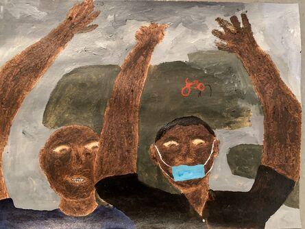 Marcus Leslie Singleton, 'Protestors on Eastern Pkwy', 2020