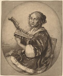 Cornelis Ploos van Amstel and Cornelis Brouwer after Gaspar Netscher, 'Lady with Guitar', 1781
